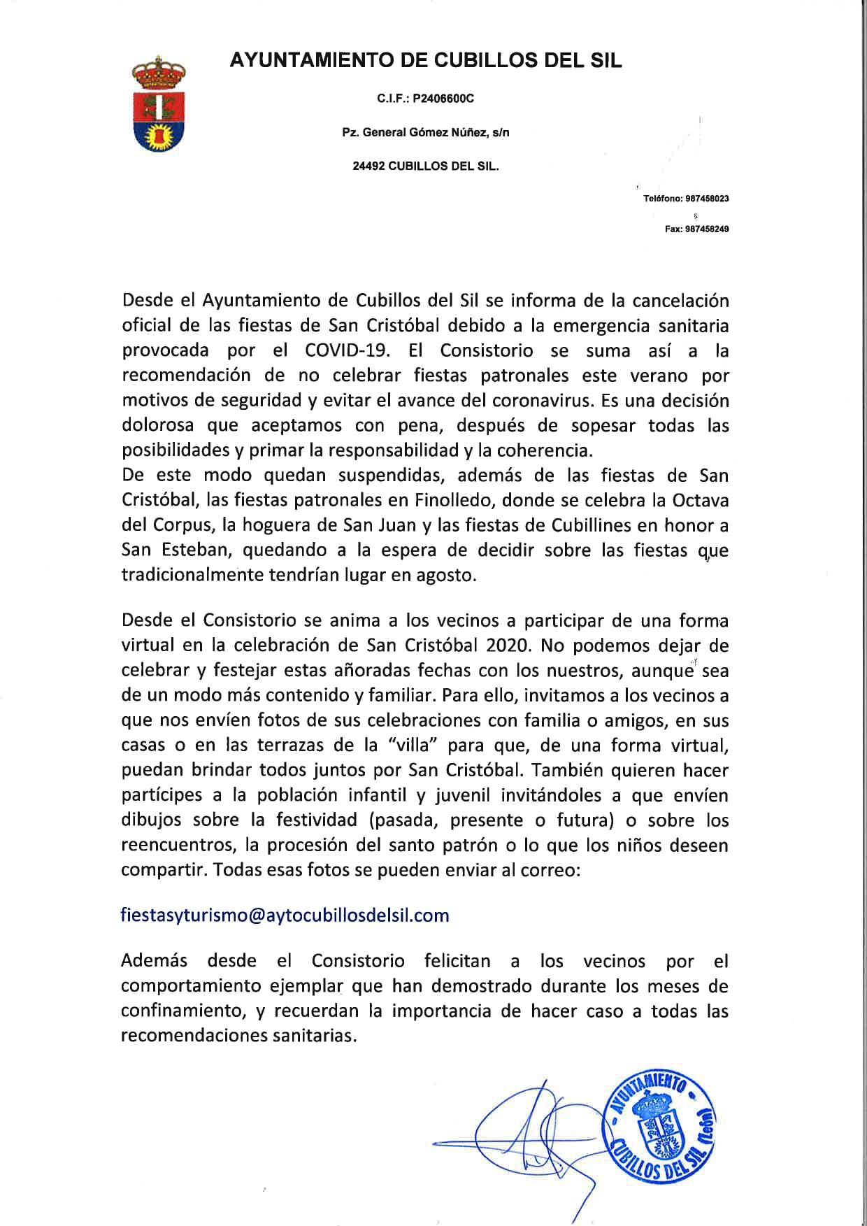 Cubillos del Sil confirma la cancelación de las fiestas de San Cristobal 2020 y plantea un brindis virtual que quedará reflejado en un álbum 2