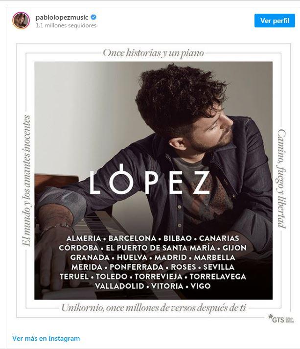 El cantante Pablo López anuncia en sus redes sociales fecha en Ponferrada en su gira 'Unikornio' 2