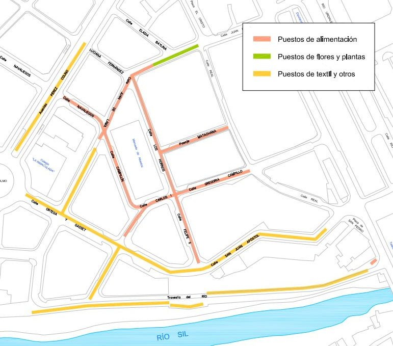 120 puestos de textil se unirán mañana miércoles al mercado de Ponferrada con alguna novedad en la ubicación de los puestos 2