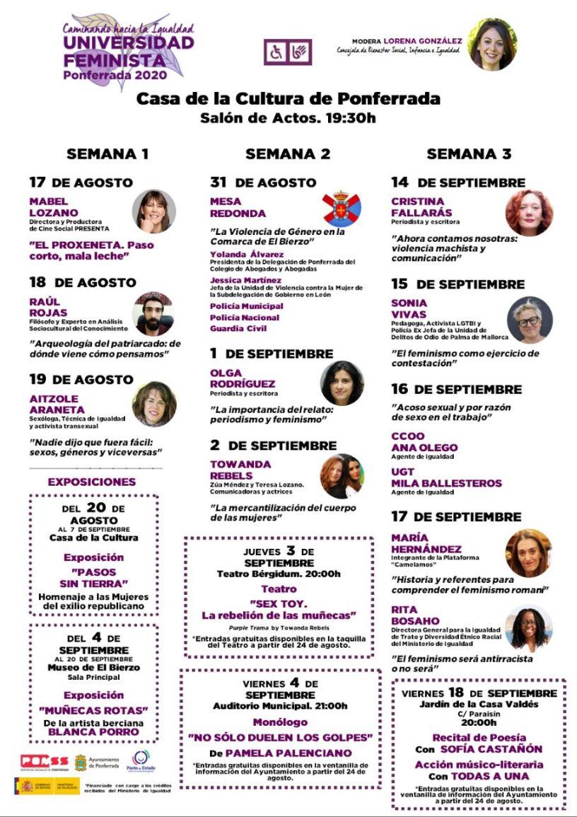 La Universidad feminista traerá a Ponferrada charlas, teatro o poesía durante los meses de agosto y septiembre 3