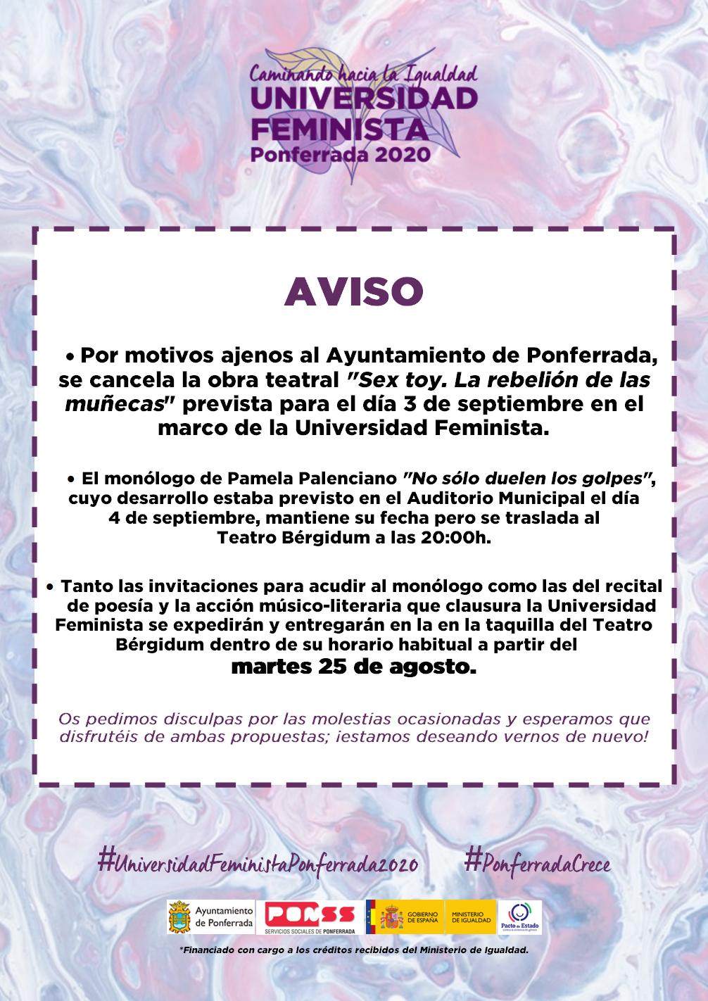 La Universidad feminista traerá a Ponferrada charlas, teatro o poesía durante los meses de agosto y septiembre 2