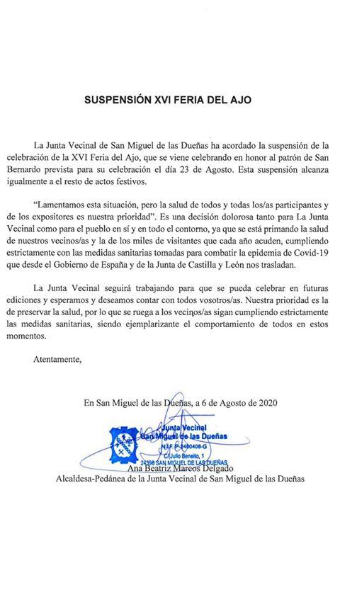 San Miguel de las Dueñas suspende la XVI Feria del ajo prevista para el 23 de agosto 1