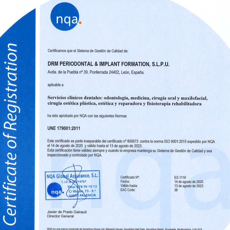 La clínica La Puebla 39 consigue las exigentes certificaciones de calidad ISO:9001 y UNE:179001 3