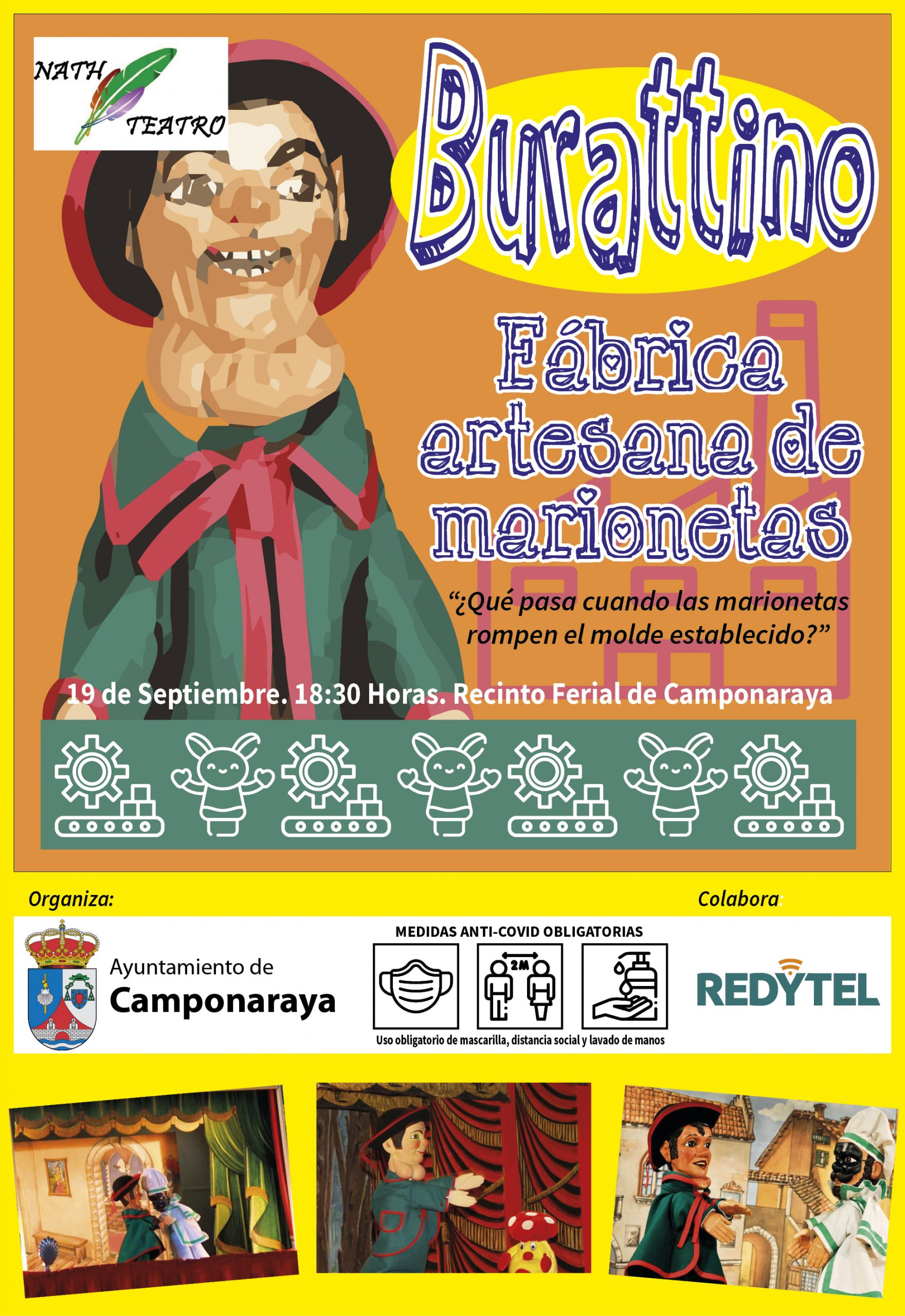"""Nath teatro presenta este fin de semana su obra """"Burattino, Fábrica internacional de marionetas"""" en bembibre y Camponaraya 3"""