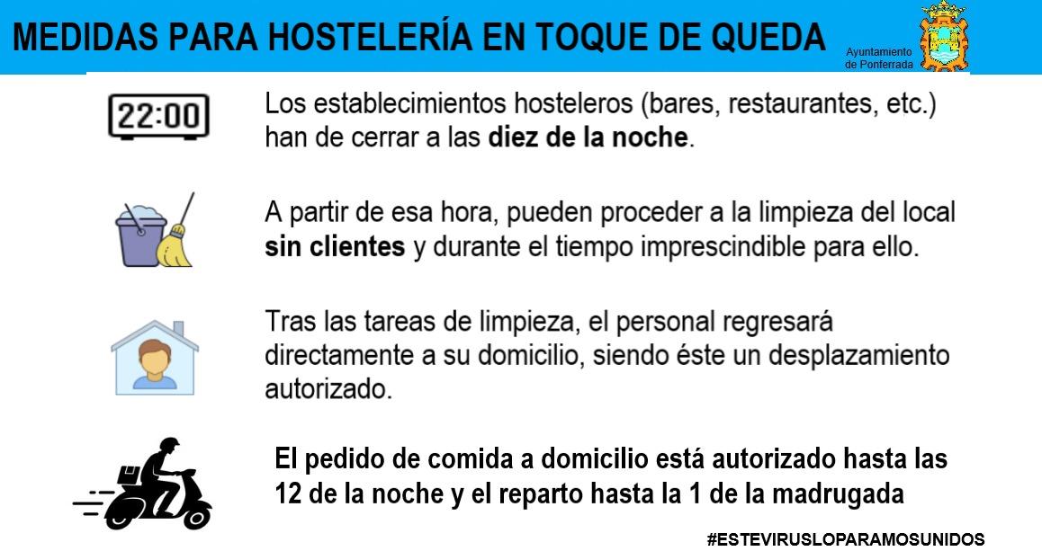 El Ayuntamiento de Ponferrada puntualiza las dudas que han surgido a los establecimientos hosteleros tras el toque de queda 2