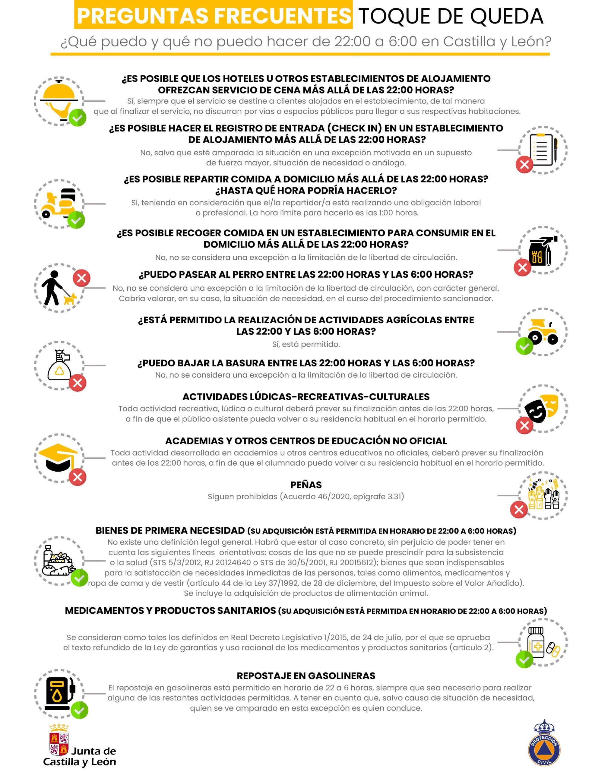 Tus dudas horarias durante el toque de queda contestadas en una guía publicada por Protección Civil 2