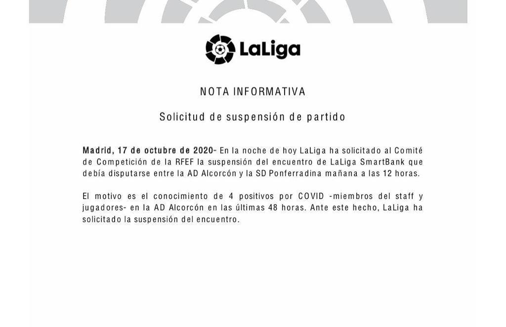 Suspendido el Alcorcón-Ponferradina tras cuatro positivos en el club madrileño 2