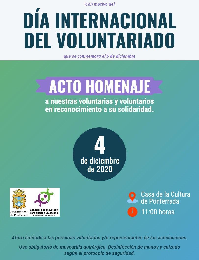 Ponferrada rinde homenaje a la labor altruista de sus vecinas y vecinos por el Día Internacional del Voluntariado 1