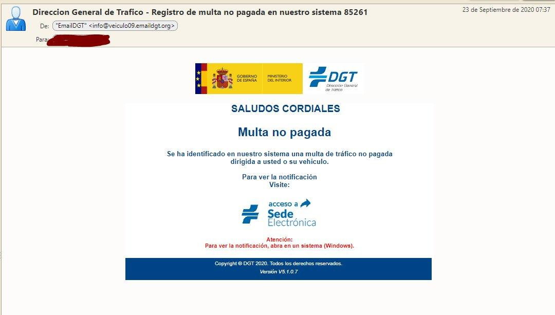 El Incibe alerta de la suplantación de la DGT en correos electrónicos que alertan de multas pendientes 1