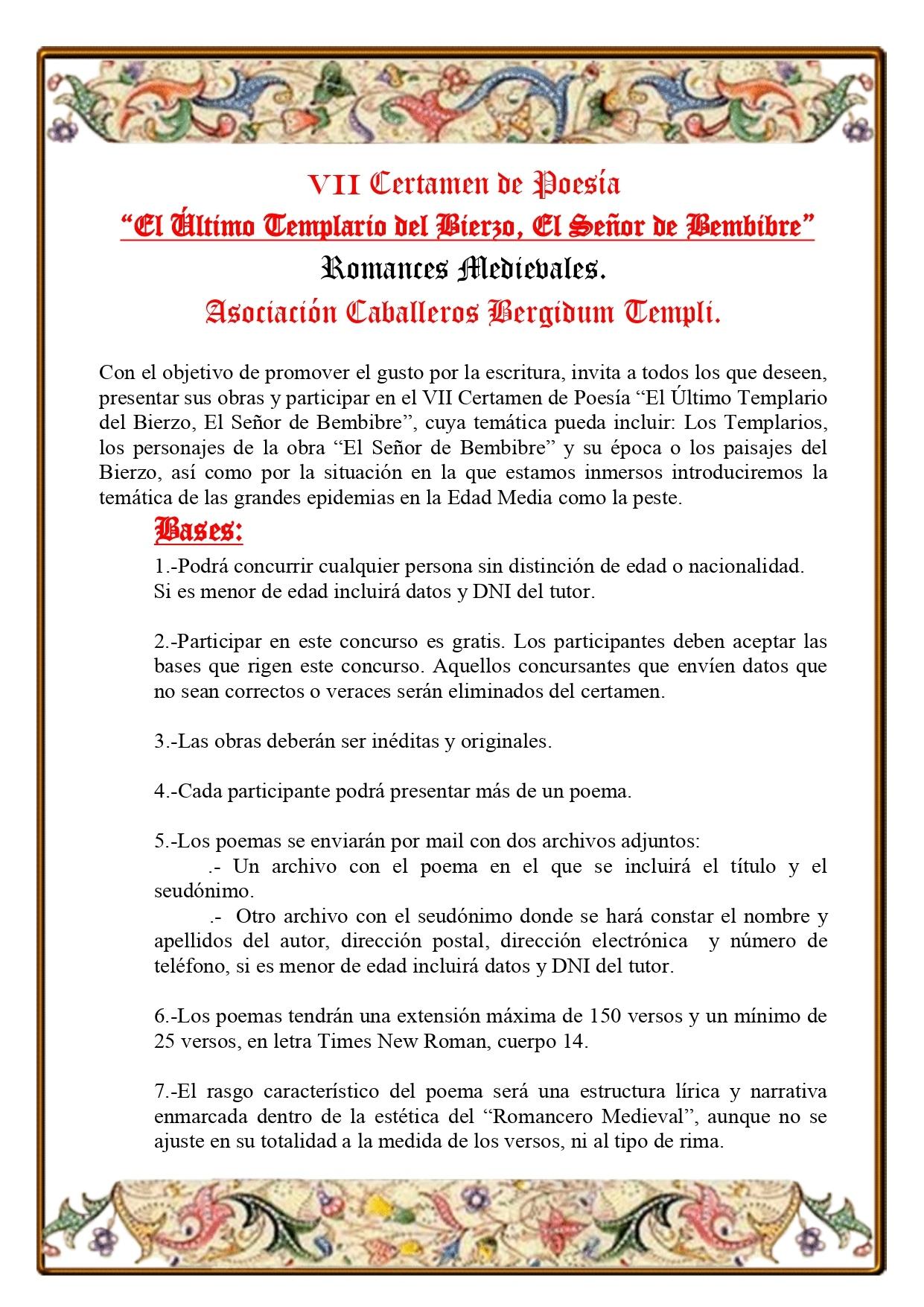 """Los caballeros Bergidum Templi y el Ayuntamiento de Bembibre convocan el VII Certamen de Poesía """"El Último Templario del Bierzo, El Señor de Bembibre"""