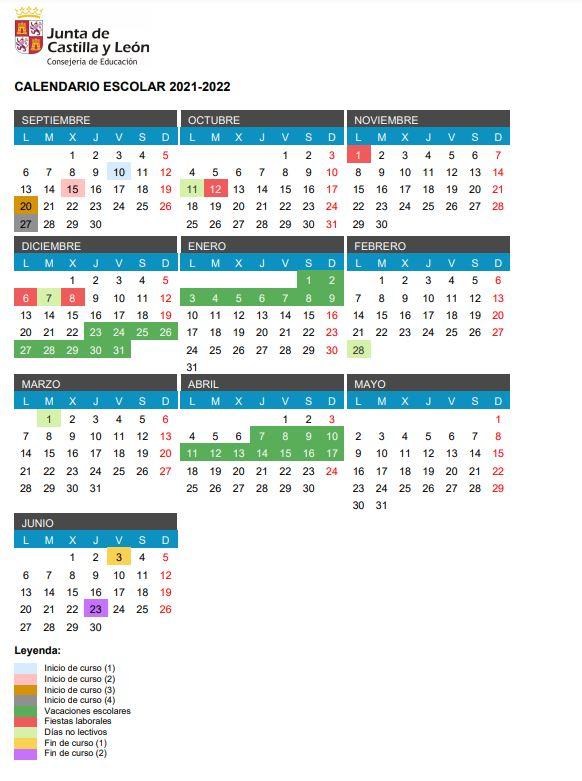 Calendario Escolar para el 2021-2022 en Castilla y León. Consulta los festivos, vacaciones y puentes del próximo curso 2