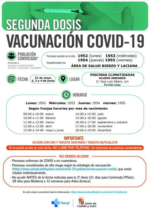 Llamamiento a la segunda dosis de la vacunación Covid-19 para los nacidos en 1952, 1953, 1954 y 1955 del área de Salud Bierzo y Laciana 2