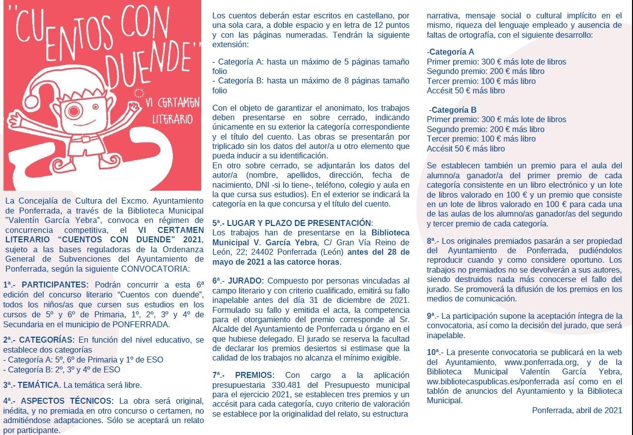 Ponferrada convoca el VI Certamen Literario Cuentos con duende 2