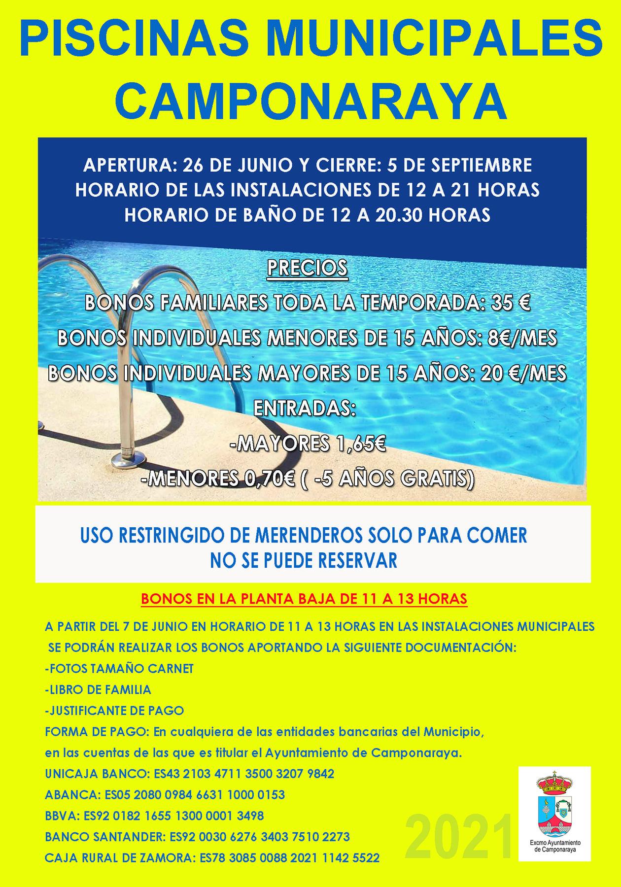 Las Piscinas Municipales de Camponaraya abren sus puertas el sábado 26 de junio 2