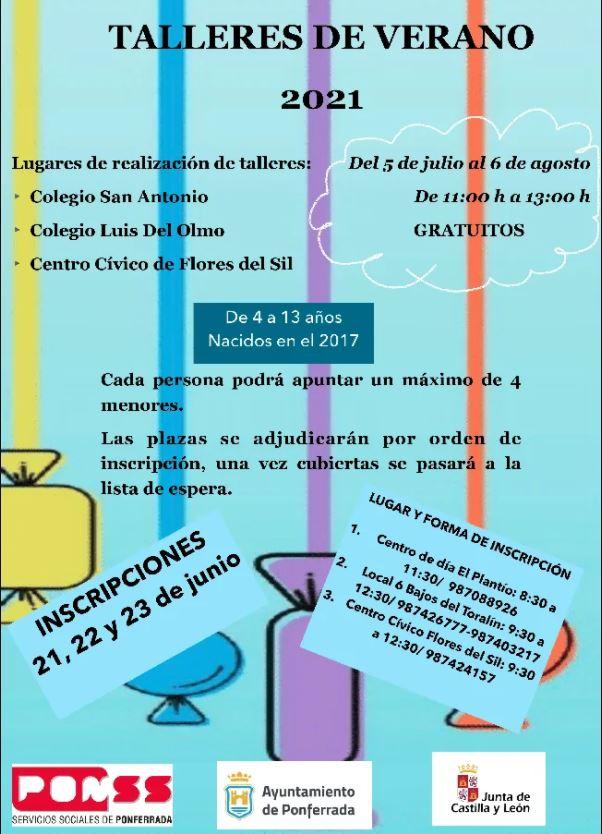 Ponferrada dispondrá de talleres de verano para niños de 4 a 13 años 2