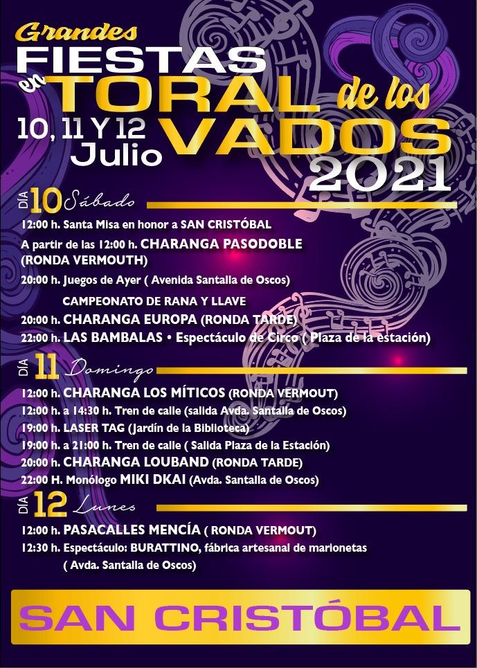 San Cristóbal 2021 en Toral de los Vados del 10 al 12 de julio. Consulta el programa 2