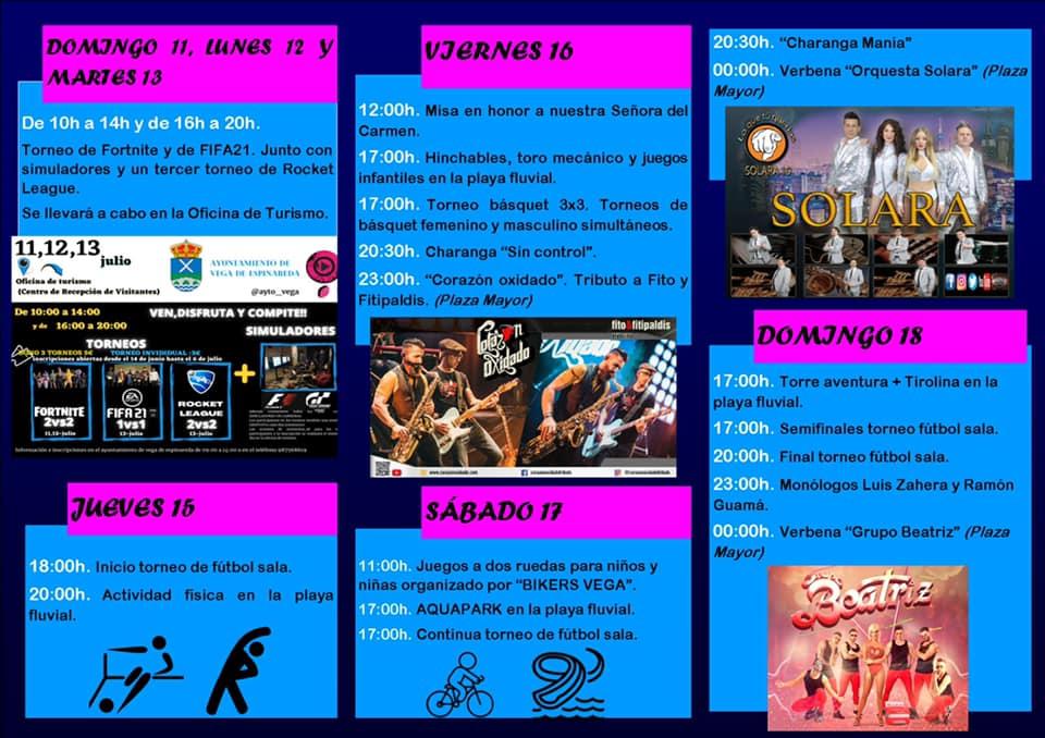 Las Fiestas del Carmen regresan a Vega de Espinareda los días 16, 17 y 18 de julio 2