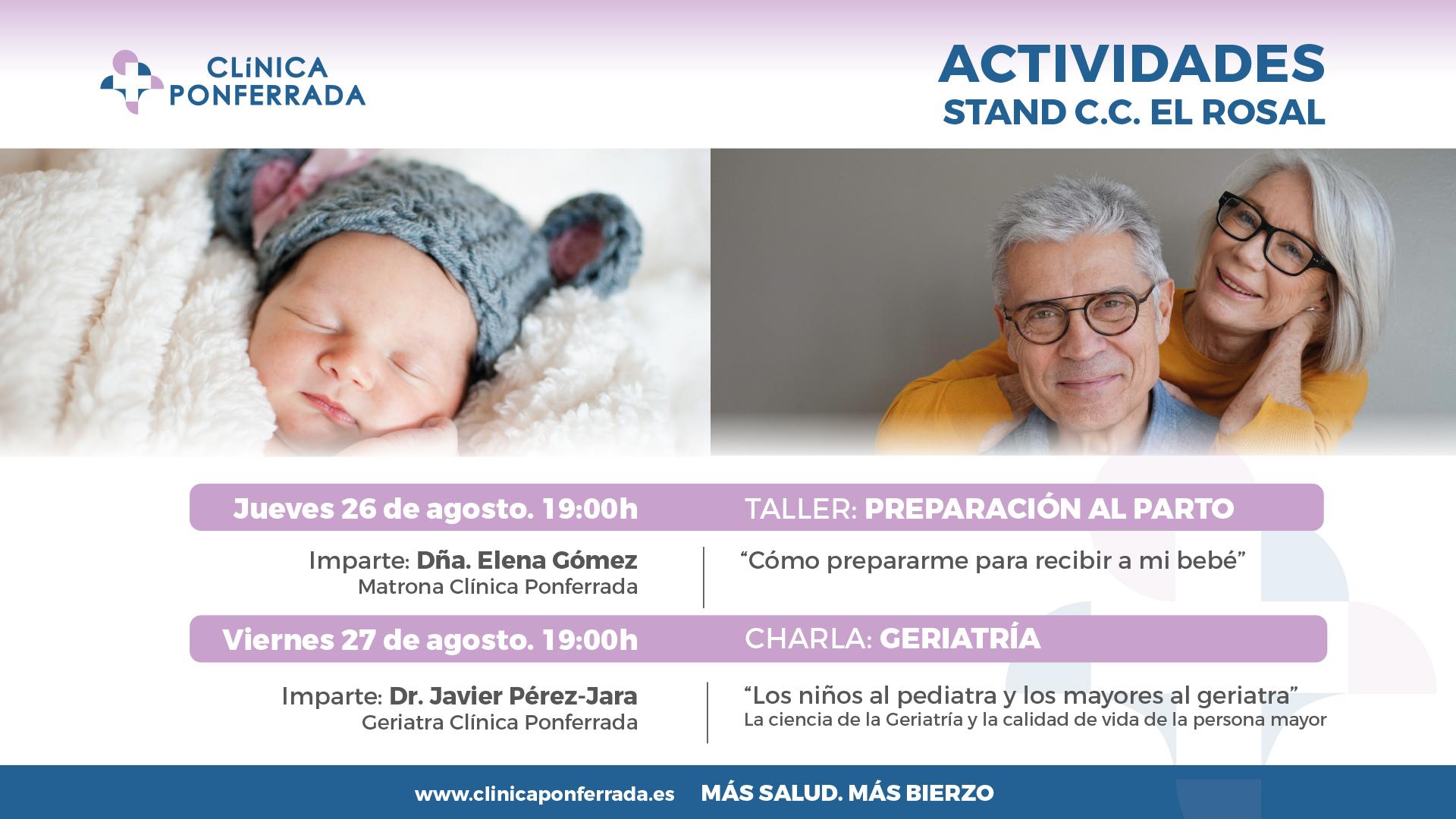 Clínica Ponferrada organiza esta semana un taller de preparación al parto y una charla sobre geriatría en el Stand de El Rosal 1