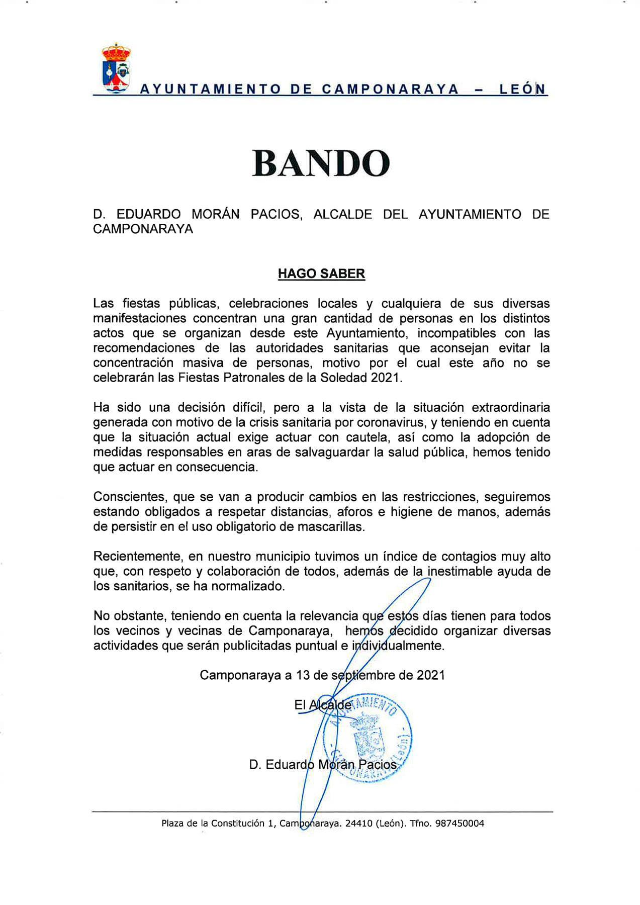 Camponaraya cancela la celebración de las Fiestas de la Soledad 2021 2
