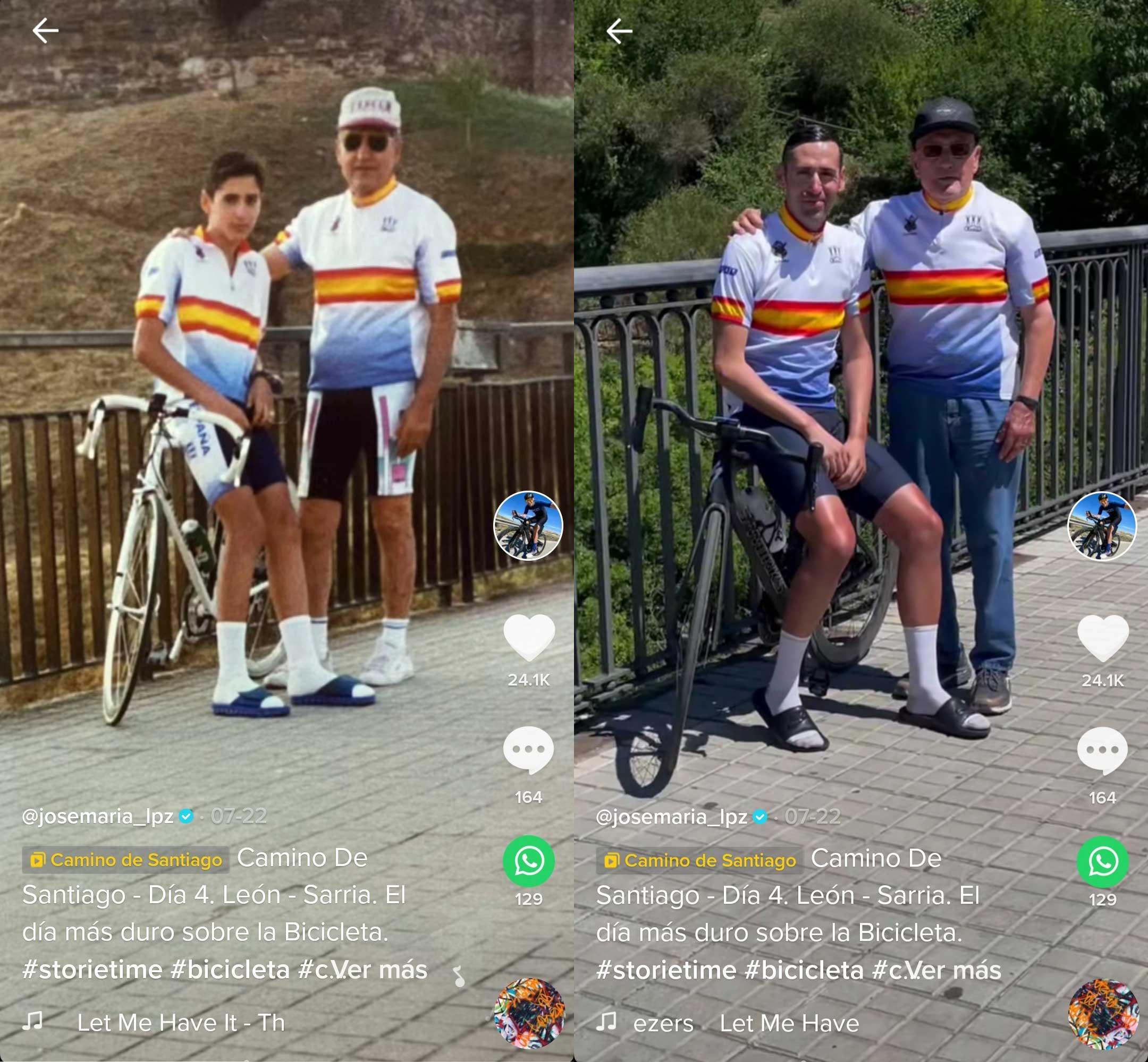La tierna imagen que se hizo el triatleta José María López en Ponferrada 28 años después 2